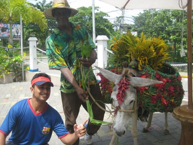 With one of the colourful locals!